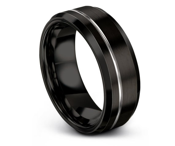 Personalized Tungsten Ring,Black Tungsten Wedding Band,Black and Silver Band,His and Hers Wedding Bands,Gift For Couple,Customizable Ring