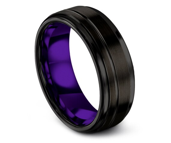 10mm Step Edge Tungsten Wedding Band Black, Off Center Purple Engraved Wedding Ring, Valentine's Gift Him, Couple Infinity Ring, Comfort Fit