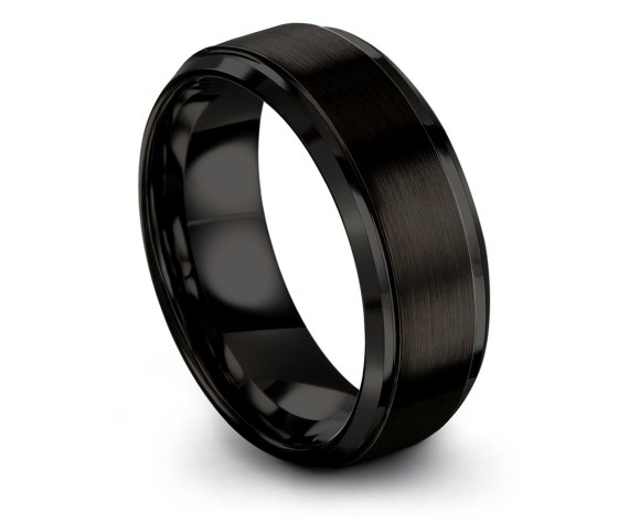 Beveled Black Tungsten Wedding Band   Wedding Band Set   Engagement Ring   Promise Ring   Rings for Men   Mens Gift   Personalized Gift