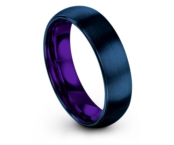 Gifts For Fathers Day   Domed Blue Brushed Tungsten Wedding Band 6mm   Center Engraved Engagement Ring   Comfort   Couple Matching Rings