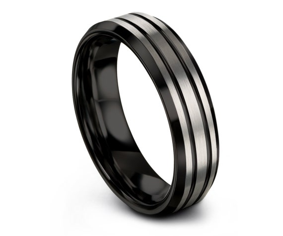 Tungsten Wedding Band Ring | Personalized Band | Double Black Stripe Ring | Engagement Ring | Women Ring | Promise Ring | 6mm | 8mm | 10mm