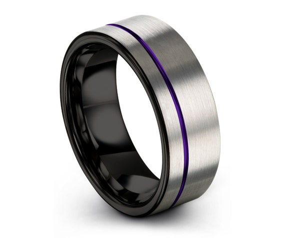Tungsten Ring Mens Brushed Silver Black Purple Wedding Band Tungsten Ring Tungsten Carbide 8mm Tungsten  Man Male Women Anniversary Matching