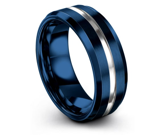 Brushed Silver Tungsten Ring Beveled,Comfort Fit Wedding Band,Mens Blue Ring,His and Hers,Center Engraved Ring,Papa Gift,Unique gifts