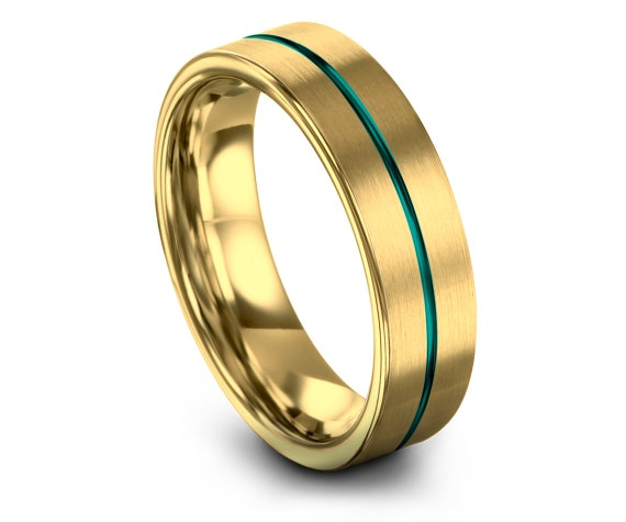 Tungsten Wedding Band Men Gold 6mm, Wedding Bands His and Hers, 18K Yellow Gold, Thin Center Line Teal Engraving, Engagement Rings