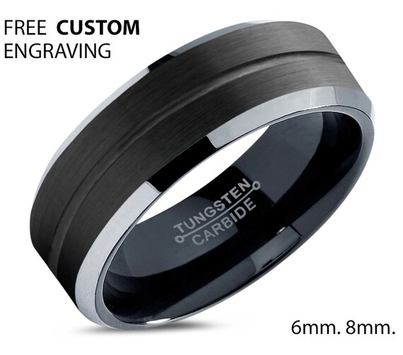 Black Polished Tungsten Wedding Band - Unisex Wedding Band for Men & Women - Free Custom Personalized Engraving - 6mm, 8mm