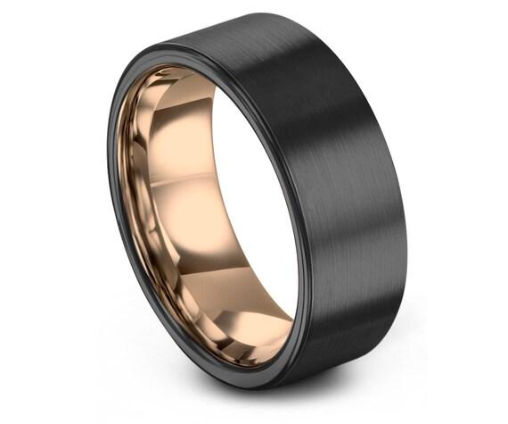 Mens Ring Gunmetal, Mens Wedding Band Rose Gold 18K 8mm, Tungsten Ring, Wedding Ring, Engagement Ring, Promise Ring, Rings for Men, Simple