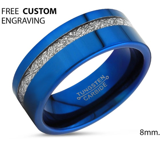 Blue Meteorite Tungsten Ring for Men & Women | Unique Personalized Wedding Band | Promise Engagement Gift