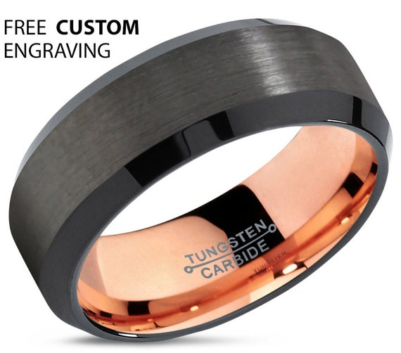 GUNMETAL Tungsten Ring Rose Gold Black Wedding Band Ring Tungsten Carbide 8mm 18K Ring Man Wedding Band Male Women Anniversary Matching Set
