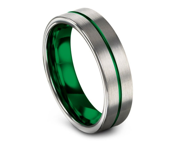 Comfort Fit Tungsten Ring Silver Brushed, Engagement Ring, Tungsten Wedding Set, Center Line Engraving Green, Rings for Men, Free Shipping