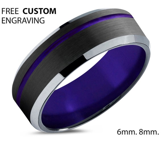 Unique Purple Wedding Band for Men and Women - Tungsten Comfort Fit Ring - Promise Ring - Gift for Mother's Day Father's Day Hypoallergenic