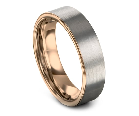 Comfort Fit Wedding Ring Silver, Engagement Rings, Rose Gold Tungsten Ring, Tungsten Carbide Ring, Promise Ring For Her, Perfect Gift, 6MM