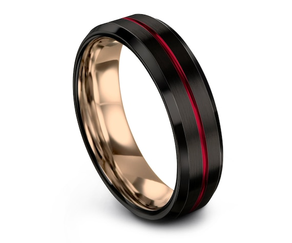 Dark Black Tungsten Ring,Rose Gold Tungsten Wedding Band Men,Thin Red Line Engraving,His and Hers Wedding Band,Promise Ring For Her, Gifts
