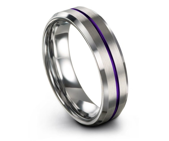 Silver Tungsten Wedding Band, His and Hers, Center Engraving Line Purple, Engagement Ring, Tungsten Carbide 6mm, Unique Band, Gift For Him