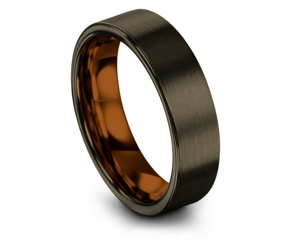 Gunmetal Tungsten Wedding Band Mens | His and Hers Wedding Bands | Copper Tungsten Band | Christmas Gifts For Mens | Free Fast Shipping