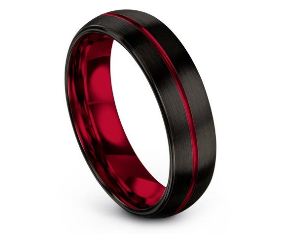 Personalized Tungsten Ring Black,Domed Brushed Tungsten Wedding Band,Engraved Ring Red,His and Hers Wedding Bands,Gift For Couple,All Size