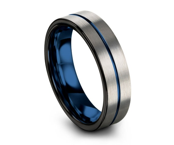 Mens Wedding Band Blue, Silver Wedding Ring, Tungsten Ring 6mm, Personalized, Engagement Ring, Promise Ring, Rings for Men, Rings for Women