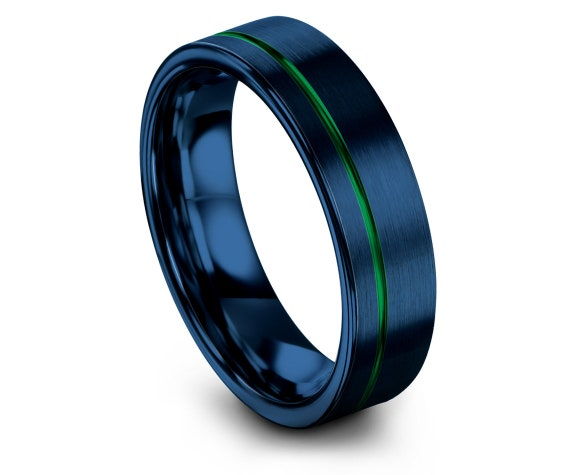 Blue Tungsten Band, Wedding Engagement Ring, His and Hers Rings, Flat Ring, Offset Line Engraved Ring Green, Custom Ring, Comfort Fit