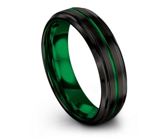 6mm Beveled Black Wedding Band,Tungsten Ring Women Engagement,Wedding Band Tungsten,Green Line Engraving Band,Handmade Ring,Valentine Gift