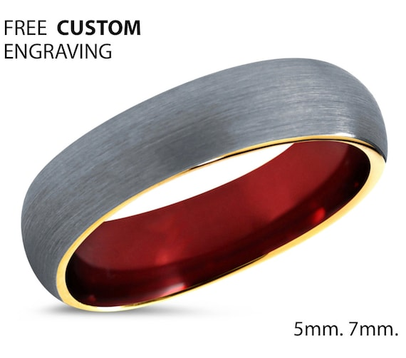 Mens Wedding Band, Brushed Yellow Gold Wedding Ring, Tungsten Ring 5mm 18K, Engagement Ring, Promise Ring, Rings for Men, Rings for Women