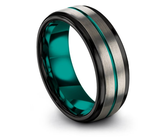 Wedding Gifts, Silver Tungsten Ring, Mens Black Tungsten Carbide 8mm, Teal Line Center Engraving, Band For Men, Hand Engraved Ring, Gifts
