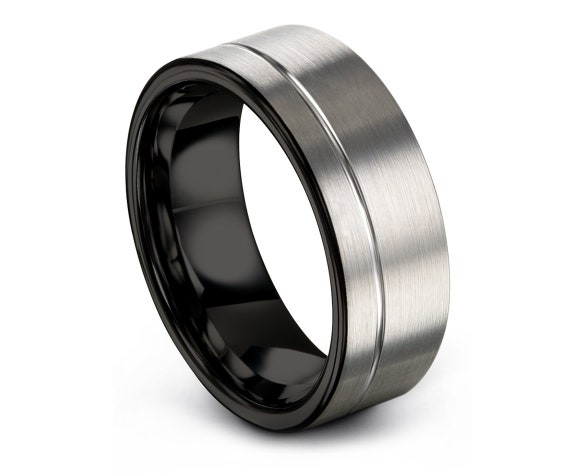 Flat Tungsten Wedding Band, Silver Engagement Band, Silver and Black, Off-Center line, Brushed Tungsten Ring, Band Size 10, Free Engraving