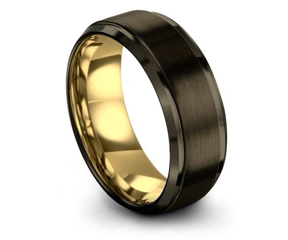 Tungsten Wedding Band Gunmetal | Tungsten Carbide Wedding Band | Mens Gold Wedding Band | Personalized Ring | Adjustable Ring | Ring for Men