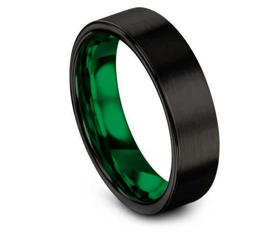 Flat Cut Black Tungsten Wedding Band   Green Tungsten Carbide Bands   Mothers Gift Ideas   Wedding Band 6mm   Comfort Fit   Size 4-15