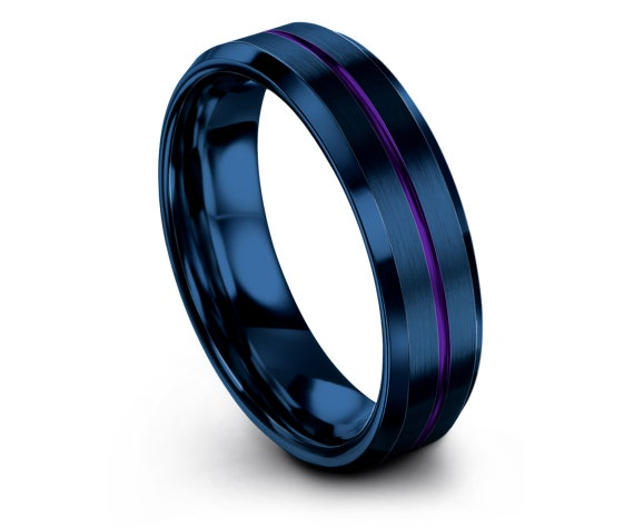 Mens Purple Tungsten Rings, Minimalist Jewelry, His and Hers, Wedding Gifts, Blue Tungsten Ring 6mm, Perfect Gift idea, Free Engraving