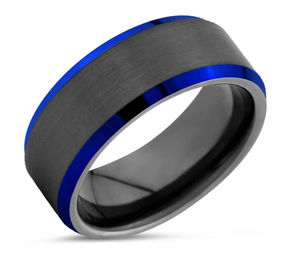 Unique Tungsten Ring With Blue Beveled Edges | Personalized Gift for Him & Her | Promise Wedding Band Men and Women