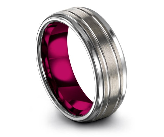 Rings For Women Pink | Step Edge With Center Line Engraving | Tungsten Silver Ring | Mens Wedding Band | Engagement Gifts | Gift For Mom