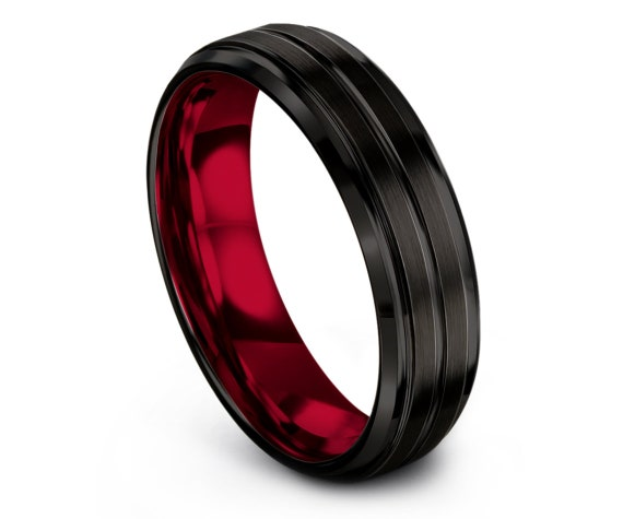 Brushed Black Tungsten Wedding Band, Inside Red Tungsten Band, Tungsten Carbide Engagement Ring, Mens Gift, Gift For Husband, Free Engraving