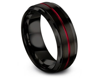 Personalized Engraving Ring Red | Black Tungsten Wedding Band | Black Brushed Band Ring | Gift For Daddy  | Women Wedding Ring | Comfort Fit