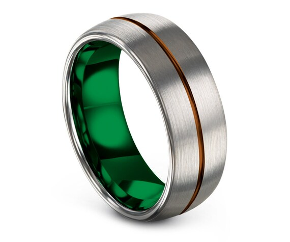Custom Engraving Band Green, Silver Domed Tungsten Wedding Band, Tungsten Engagement Ring, Promise Ring, Anniversary Gift, Comfort Fit