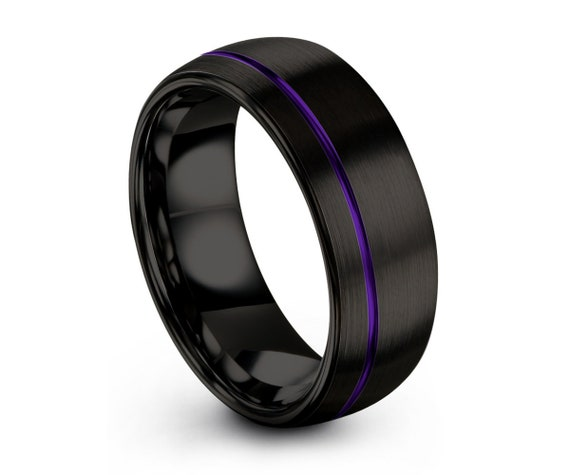 Mens Wedding Band Black, Tungsten Ring Purple, Wedding Ring, Engagement Ring, Promise Ring, Rings for Men, Rings for Women, Black Ring