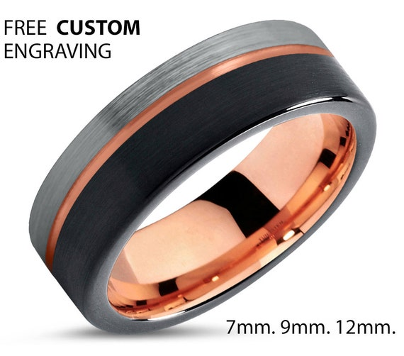 Mens Wedding Band Rose Gold, Black Tungsten Ring 8mm 18K, Wedding Ring Silver, Engagement Ring, Promise Ring, Gifts for Him, Mens Ring