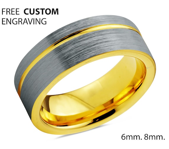 Mens Wedding Band Silver, Wedding Ring Yellow Gold 18K 8mm, Tungsten Ring, Engagement Ring, Rings for Women, Rings for Men, Promise Ring