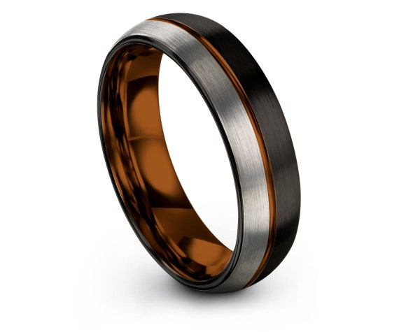 Mens Silver Ring,Personalized Domed Tungsten Ring,Black Tungsten Wedding Band,Copper Line Engraving,His and Hers Wedding Bands,Gift For Him