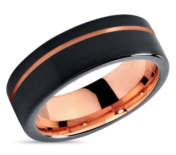 Mens Wedding Band Black, Rose Gold Tungsten Ring 7mm 18K, Wedding Ring, Engagement Ring, Promise Ring, Rings for Men, Rings for Women