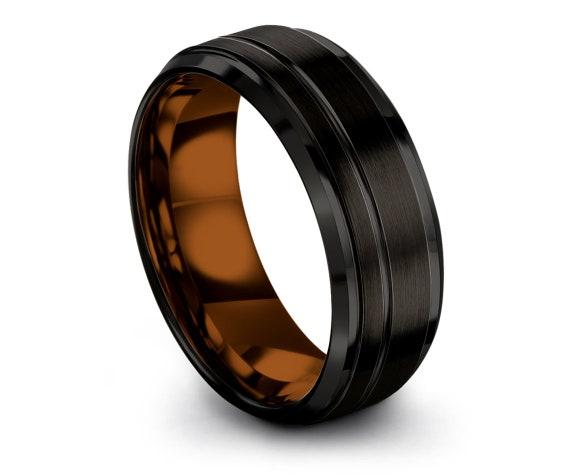 Mens Black Ring, Ladies Tungsten Band Copper, Tungsten Ring 8mm, Offset Engraving, Tungsten Carbide Ring, Handmade Ring, PAPA Gift