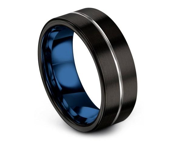 Flat Tungsten Ring Black,Tungsten Men Wedding Band,Silver Tungsten Wedding Set,Thin Line Blue Engraving,Engagement Band,Anniversary gifts