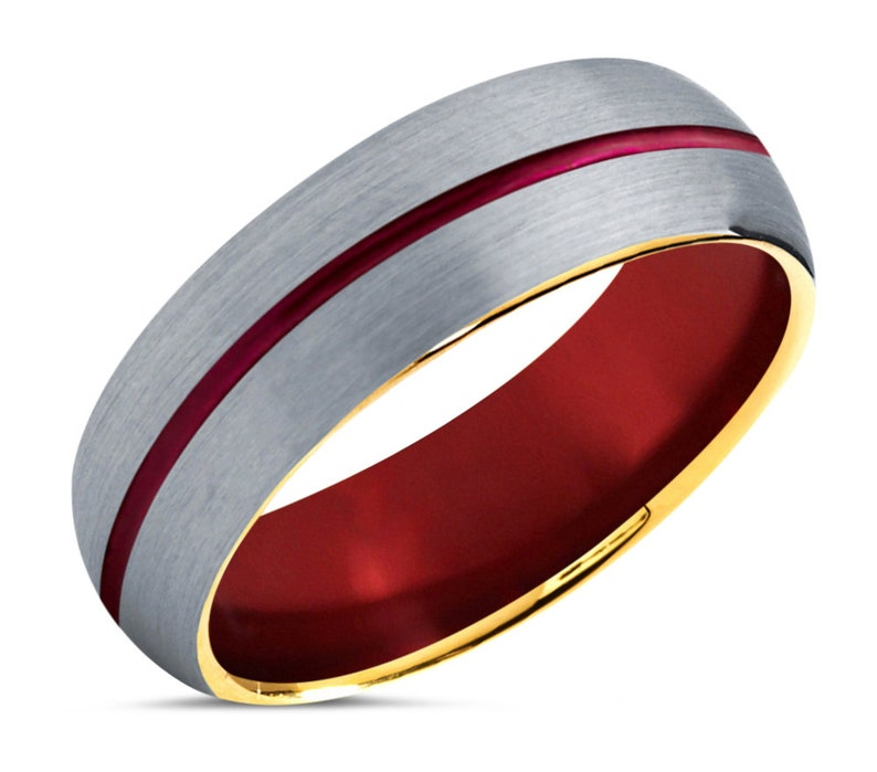 5mm or 7mm Widths Free Custom Engraving Red Tungsten Wedding Band with 18k Yellow Gold Edges and Brushed Top Unisex Wedding Ring