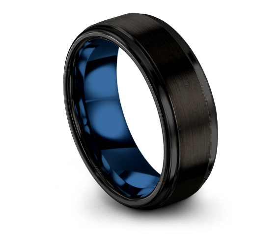 70% Off Sale,Brushed Black Ring,Tungsten Carbide 8mm Rings,Offset Blue Line Engraving,Engagement Band,Customized Gift,Free Shipping