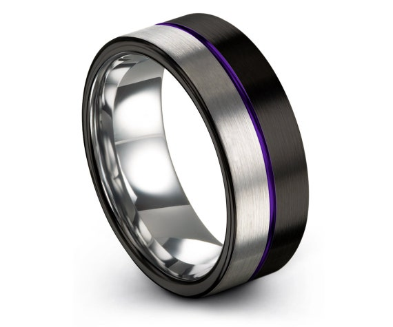 Engraved Wedding Band Purple | Silver Tungsten Ring | His and Hers | Black Tungsten Ring Men | Tungsten Engagement Ring | Custom Ring