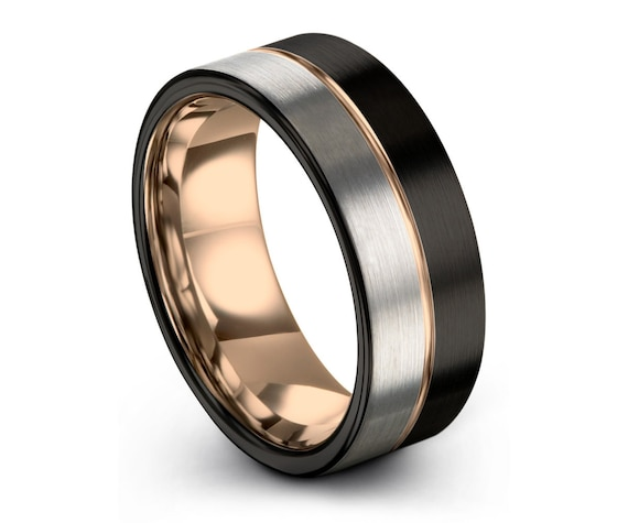 Mens Wedding Band Black, Tungsten Ring Rose Gold 9mm 18K, Wedding Ring, Engagement Ring, Promise Ring, Rings for Men, Rings for Women