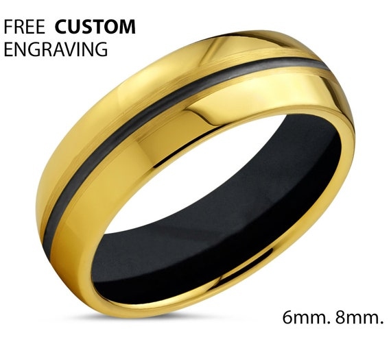 Unique 18k Yellow Gold with Black Center Line and Black Interior Wedding Ring | Free Custom Engraving | Perfect Gift Idea | Free Shipping