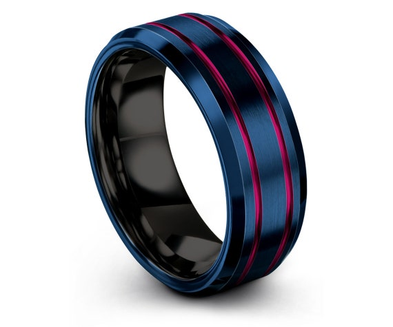 Brushed Comfort Fit   Blue Wedding Ring   Tungsten Wedding Band Men   Tungsten Black Ring   Double Line Engraving Pink Band   Family Ring