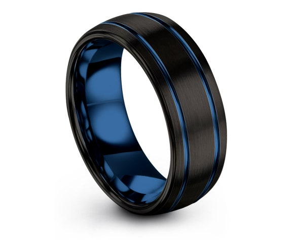 Anniversary Matching Ring   8MM Rings   Black Domed Wedding Band   Double Line Blue   Tungsten Carbide Ring   Matching Ring   Gift For Her