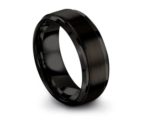 Mens Wedding Band, Tungsten Ring Black 8mm, Wedding Ring, Engagement Ring, Promise Ring, Rings for Men, Rings for Women, Black Ring