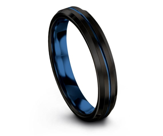 Black Tungsten Carbide Rings, Wedding Ring in Blue, His and Hers Rings, Engraving Blue Line, Available In 4mm, 6mm, 8mm, 10mm, Fast Shipping
