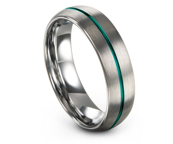 Domed Wedding Rings Silver, Engraved Tungsten Carbide 6mm, Center Line Teal, Engagement Set, Silver Jewelry, Gift For Wife, Matching Ring